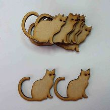 wooden craft CAT shapes, laser cut 3mm mdf embellishment, decoupage,